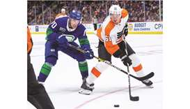 Vancouver Canucks left wing Tanner Pearson (left) and Philadelphia Flyers defenseman Justin Braun ba