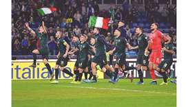 Italy's players celebrate after winning the UEFA Euro 2020 Group J qualifier match against Greece at