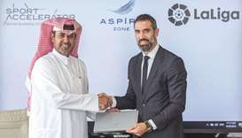 Abdulla Nasser al-Naimi (left), Director General of Aspire Logistics with Fernando Sanz, Director of