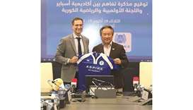 Aspire Academy Director General Ivan Bravo (left) with Kee Heung Lee, president of the Korean Sports