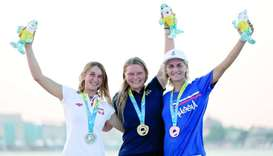 Women's Kitefoil Racing gold winner Daniela Moroz of USA (centre), silver medallist Julia Damasiewic