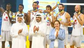 The silver winning Qatar volleyball team with Qatar Olympic Committee president HE Sheikh Joaan bin