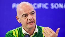 FIFA president Gianni Infantino gestures as he speaks during a press conference in Dhaka