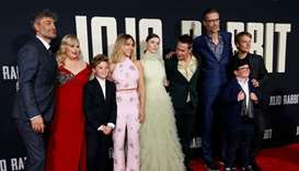 Director and cast member Taika Waititi and fellow cast members Rebel Wilson, Scarlett Johansson, Tho