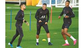 (From left) Paris Saint-Germain's Layvin Kurzawa, Kylian Mbappe and Presnel Kimpembe attend a traini