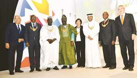 HE Sheikh Saoud bin Abdulrahman al-Thani (third from right) and other awardees with IOC President Dr
