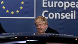 British Prime Minister Boris Johnson leaves an European Union Summit at European Union Headquarters