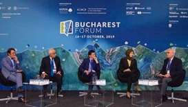Foreign Ministry Spokesperson HE Lolwah Alkhater speaking at the Bucharest Forum panel.