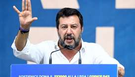 League party leader Matteo Salvini gestures as he gives a speech during a rally in Pontida, Italy on