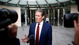 Labour Party's Shadow Secretary of State for Brexit Keir Starmer speaks to the media as he leaves th