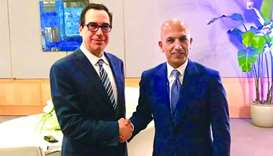 HE al-Emadi with US Treasury Secretary, Steven Mnuchin on the sidelines of WB-IMF meetings in Washin