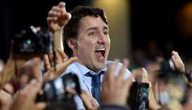 Leader of the Liberal Party of Canada, Prime Minister, Justin Trudeau, spoke to his supporters durin