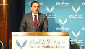 Al-Khater addressing the Gulf International Forum in Washington, DC. The government is pursuing the