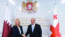 HE the Minister of Transport and Communications Jassim Seif Ahmed al-Sulaiti meeting the Georgian Mi