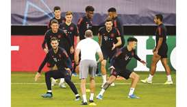Bayern Munich players perform a drill during training at the Karaiskakis Stadium in Piraeus, Greece,