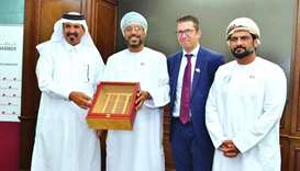 Al-Kuwari receiving a token of recognition from officials from Oman. Duqm Port is the largest econom