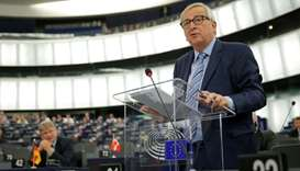 European Commission President Jean-Claude Juncker speaks during a debate on the last EU summit and B