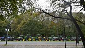 Farmers on tractors protest