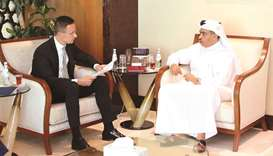 HE al-Kuwari meeting with Hungary's Minister of Foreign Affairs and Trade, Peter Szijjarto in Doha y