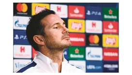 Chelsea's head coach Frank Lampard looks on during a press conference at the Johan Cruijff Arena sta