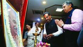 Indian ambassador P Kumaran paying respect to the ' Father of the Nation.'