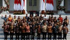 Indonesian President Joko Widodo, Vice President Ma'ruf Amin, and newly appointed cabinet ministers