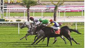 Julien Auge (left) rides Shadad to Prix Cheri Bibi (Group 3 PA) victory in Toulouse, France, yesterd