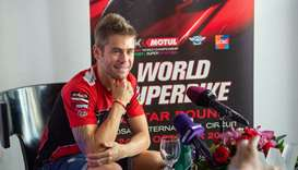 Ducati's Alvaro Bautista smiles during an interaction with the media at the WHOTEL yesterday.