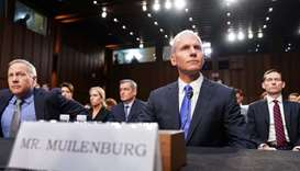 Boeing Chief Executive Dennis Muilenburg testifies before a Senate Commerce, Science and Transportat