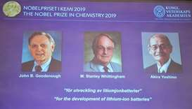 US-UK-Japan trio win chemistry Nobel for lithium-ion battery