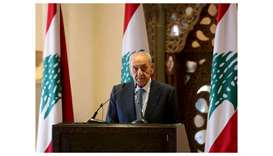 Lebanon's parliament speaker Nabih Berri looks on during a news conference in Beirut, Lebanon.