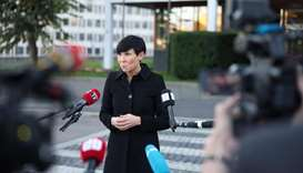 Norwegian Foreign Minister Ine Eriksen Soreide talks to the media outside the Ministry of Foreign Af