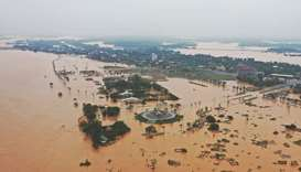 Flooded villages are seen in Quang Tri province, Vietnam, yesterday.