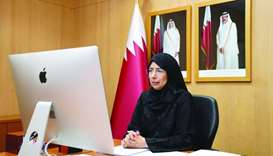 HE the Minister of Public Health Dr Hanan Mohamed al-Kuwari participating in the virtual meetings.