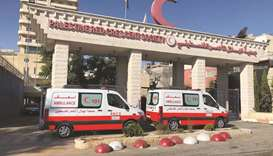 The two ambulances recently procured by the representation mission of QRCS in the West Bank and Jeru