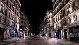A deserted Republique street in Lyon, as a curfew is in place to fight the spread of Covid-19. About