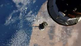 The Soyuz MS-17 seen before docking to Rassvet module of the International Space Station (ISS), on O