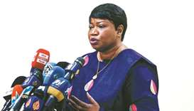 The International Criminal Court's prosecutor Fatou Bensouda gives a press conference in Sudan's cap