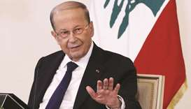 Lebanese President Michel Aoun speaks at a televised press conference at the presidential palace in