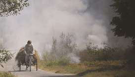 A cycle rickshaw driver rides past a burning straw stubble on a field, on the outskirts of Sirhind,