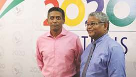 Seychelles outgoing President Danny Faure (left) and Seychelles' newly elected President Wavel Ramka
