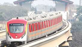 A newly built Orange Line Metro Train (OLMT), a metro project planned under the China-Pakistan Econo