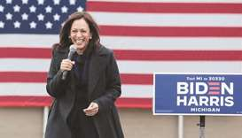 Democratic vice presidential nominee Kamala Harris speaks during a campaign event in Detroit, Michig