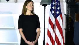 Judge Amy Coney Barrett looks on before being sworn in as a US Supreme Court Associate Justice durin