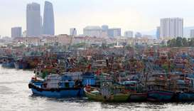 Fishing boats are seen at a port after returning to avoid Molave typhoon in Da Nang city, Vietnam