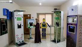 Palestinian entrepreneur Heba al-Hindi demonstrates a locally-designed and manufactured smart steril