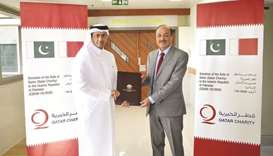 Ambassador of Qatar to Pakistan Sheikh Saoud bin Abdulrahman al-Thani handed over the medical aid to