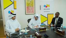 Ahmad Musa al-Namla, CEO of Qatar Museums, with other officials.