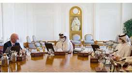 His Highness the Amir Sheikh Tamim bin Hamad Al-Thani chairs the third meeting of the Board of Direc