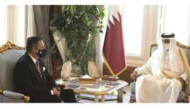 HH the Amir with the outgoing ambassador of Argentina.
